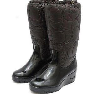 Coach Cantina Brown Patent Leather Winter Boot