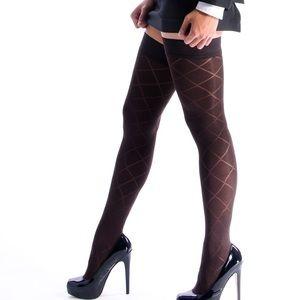 21f749d74 VienneMilano Accessories - Brown Argyle Pattern Thigh High Stockings