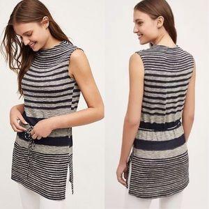 Anthropologie Drawstring Stripe Tunic By Dolan