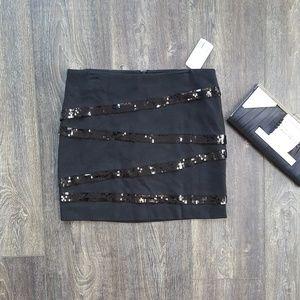 Forever 21 Sequin Black Mini Skirt - Size Medium