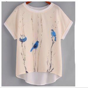Blue Birds Sheer Top 💋