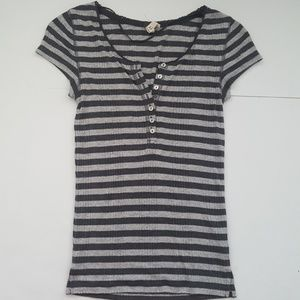 FP We The Free Gray Striped Knit Tee