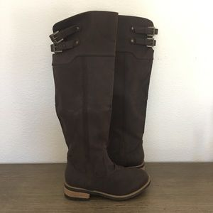 Shoes - (NWOT) Dark Brown Faux Suede Over the Knee Boots
