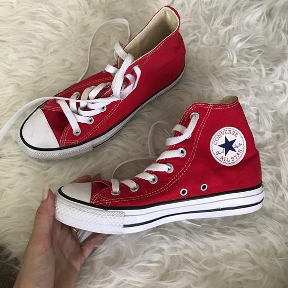 a82de69388b Converse Shoes - High top red converse unisex men 5 women 7