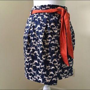 H&M Dresses & Skirts - H&M Navy Horse Print Paper-bag Waist Mini Skirt 8
