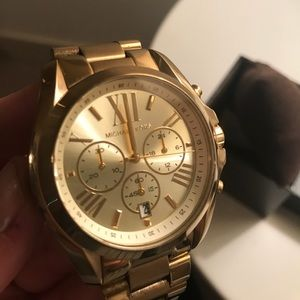 Michael Kors Accessories Womens Bradshaw Goldtone Watch