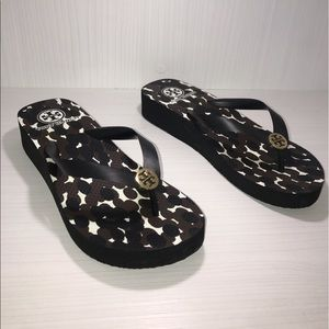 Tory Burch Shoes - Tory Burch sandals used color black brown & white