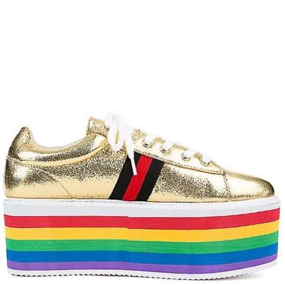 277b4e4c076 AMAZING GOLD RAINBOW PLATFORM SNEAKERS Host Pick🌈