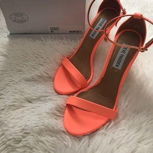 1d5ffb6a444 Steve Madden Shoes - Steve Madden Stecy Coral Neon Skinny Strappy Heels