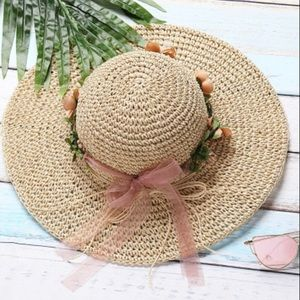 Straw hat with removable flower ring. Price firm