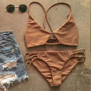 Other - Sexy strappy bikini gold tan camel small brown
