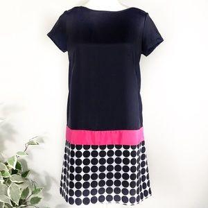 GAP 2 navy polka dot and pink stripe shift dress