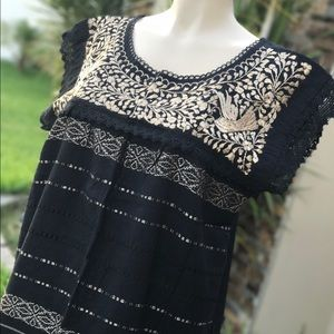 New Mexican Oaxaca Blouse Embroidered Floral Lace