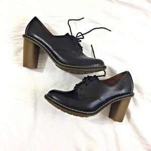 Dr. Martens Jinelle Black 3 Eye Chunky Heels SZ 8