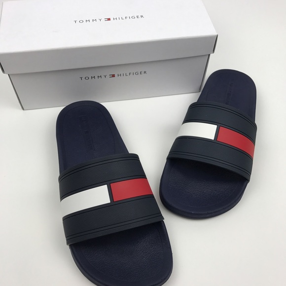8cb98789c640b  Tommy Hilfiger  Men s Flag Logo Slides Sandals 10