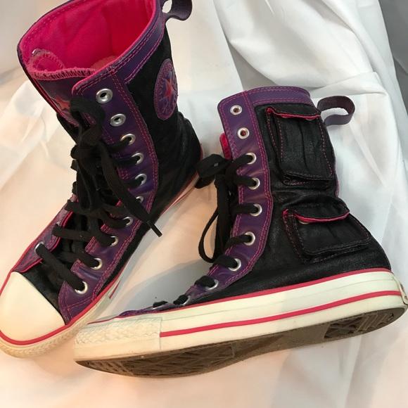 6b5690458291 Converse Shoes - Converse sz7 shiny black hi tops w pockets  Rare