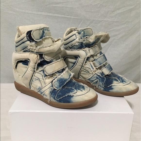 cb43036d4c Isabel Marant Shoes - Isabel Marant Balesi Basket Denim Wedge Sneaker