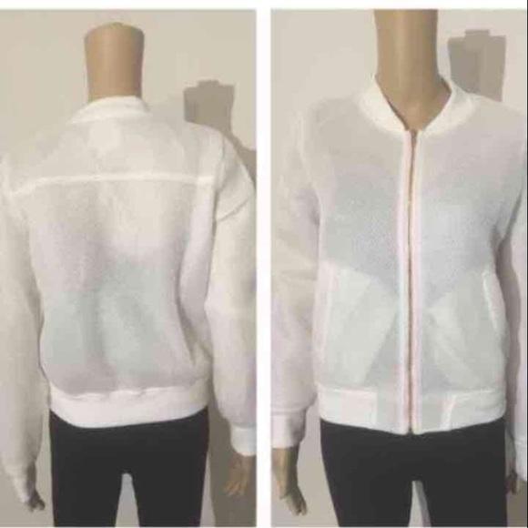 Jackets & Coats - NIP white mesh bomber jacket