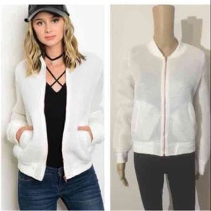 Jackets & Coats - NIP white mesh bomber jacket
