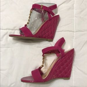e1260ab16a ... Victoria s Secret slip on Cute pink wedges with gold accents ...