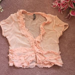 Charlotte Russe ruffle crop cardigan or top