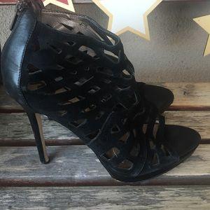 Sam Edelman black suede cut out heels size 8