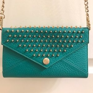 Rebecca Minkoff Teal Gold Stud Wallet on Chain
