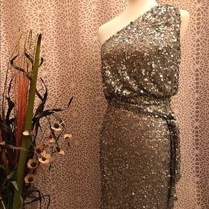 Aidan Mattox Dresses & Skirts - Aidan Mattox Fab Silver Sequin One Shoulder Dress