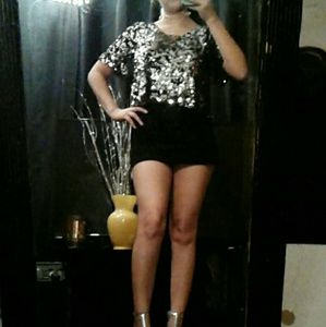 Black/Silver Sequined top