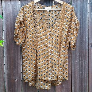 L'ATISTE Tops - L'ATISTE by Amy Owl Print Gold Sheer Blouse Small