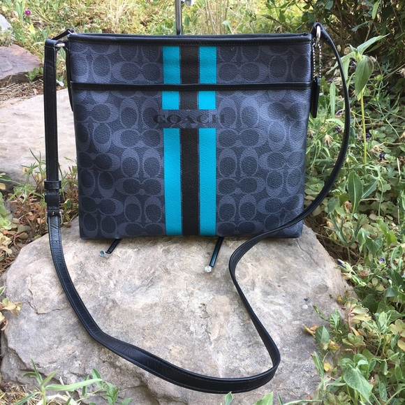 d2f3334611 Coach Handbags - COACH Teal VARSITY STRIPE File Bag F38402
