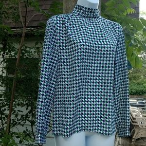 Vintage 80's polyester houndstooth blouse