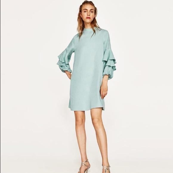4a05ea55a1ae Zara Dresses | Frilled Sleeve Sea Green Dress | Poshmark
