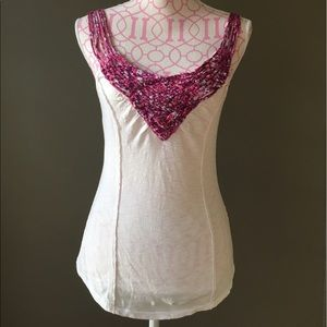 Free People cotton tank with pink straps