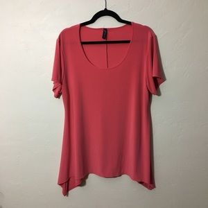 💙 Asymmetrical short sleeve top, pink