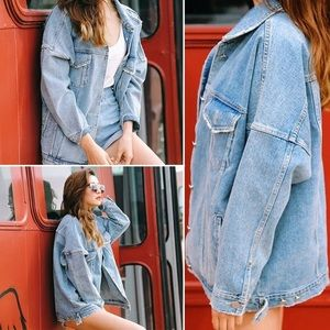 Jackets & Coats - Oversized Denim Jacket with Gold Buttons
