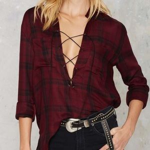 Tops - Plaid shirt with tie up detail