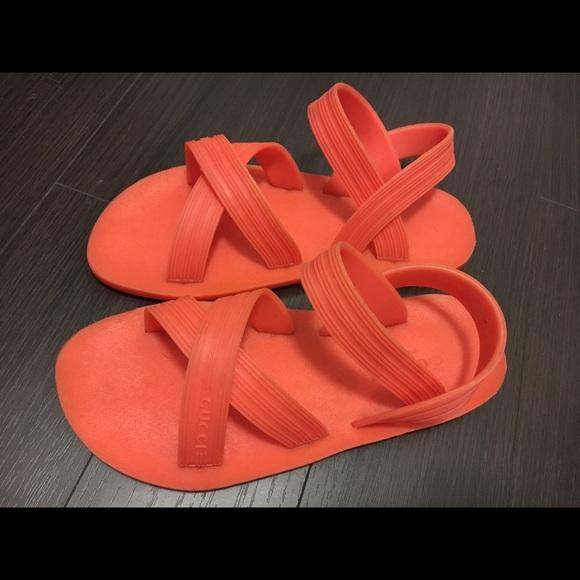 fd265b26d Gucci Shoes - Gucci orange rubber sandals beachwear