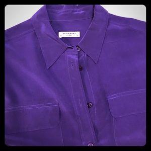 Equipment purple long sleeve silk button down