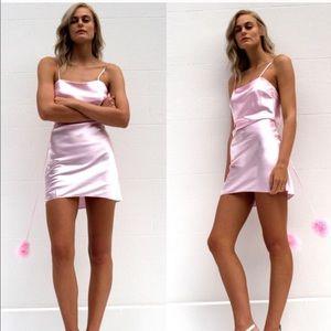 Dyspnea gold digger slip Pom Pom dress pink