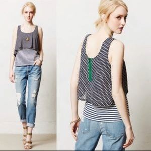 Anthropologie Meadow Rue Daisy Black White Top