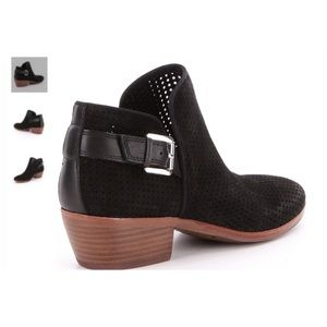 Sam Edelman Shoes - Black Paula Perforated Suede Booties