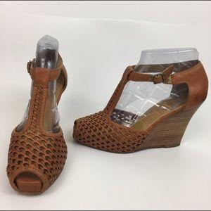 Frye Shoes - Frye T-strap platform camel colored wedges size 7