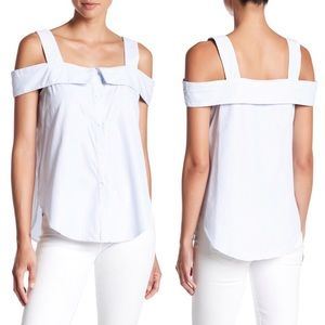 Nordstrom Striped Cold-Shoulder Button Down Top
