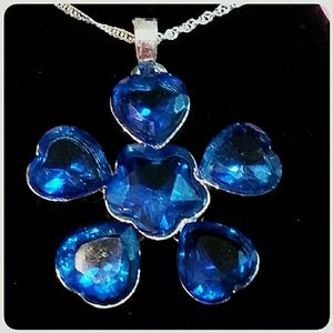 Sterling Silver .925 Large Blue Stone Pendant