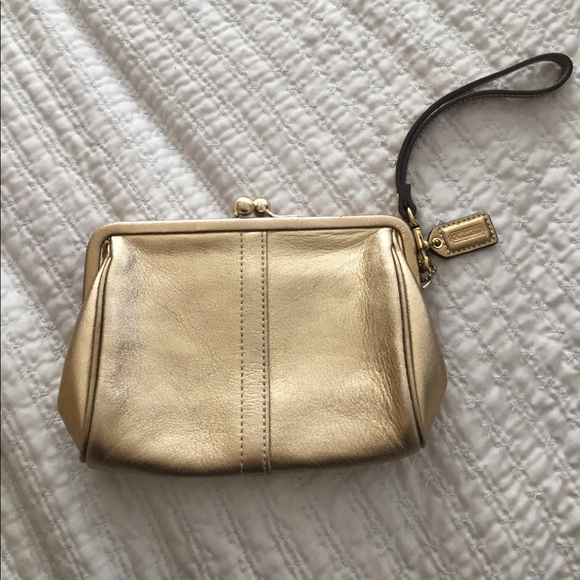 2020 enjoy free shipping reliable quality Coach Gold Wristlet Clutch