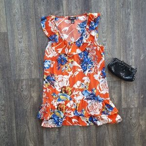 Floral Ruffle Tiered Sleeveless Tunic - size small