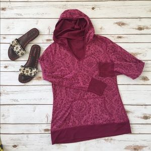 Hoodie Top Reversible in Raspberry