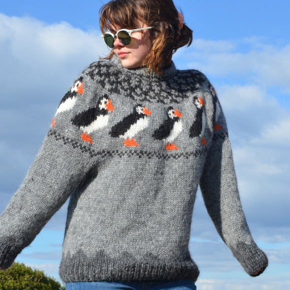953aa1fcc57 Hand-Knit Pure Icelandic Wool Puffin Sweater