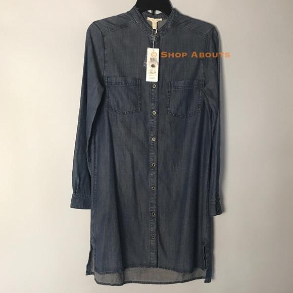 fa39ee6b0ba Eileen Fisher Tencel Cotton Denim Shirt Dress New